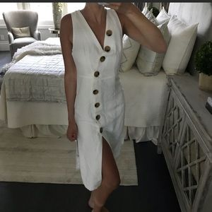 Dresses & Skirts - White linen dress with buttons, size small